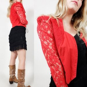 Western cropped blazer puff sleeve vintage lace